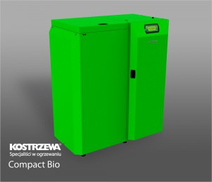 Kostrzewa Compact Bio 16/24 kW - pellet és vegyes tüzelésű kazán bal oldalra épített pellet tartállyal