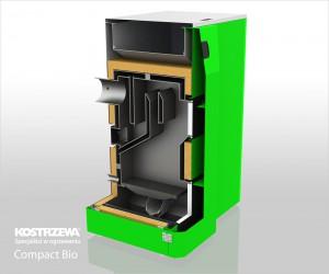 Kostrzewa Compact Bio 16/24 kW keresztmetszeti ábra - vegyes és pellet tüzelésű kazán