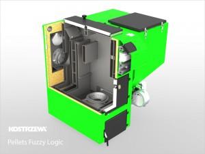 Kostrzewa Pellets Fuzzy Logic 15-100 kW - robbantott ábra, vegyes és pellet tüzelésű kazán lambda szondával
