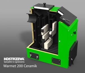 Kostrzewa Warmet 200 Ceramik 18-32 kW robbantott ábra - vegyes tüzelésű kazán, kerámia betéttel és füstgáz ventilátorral