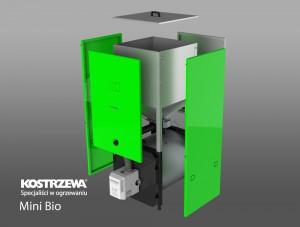 Kostrzewa Mini Bio 10/20 kW robbantott ábra - pellet kazán beépített pellet tárolóval